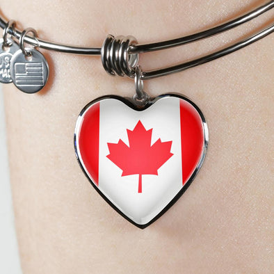 lottierocks:Canada Flag Heart Pendant Bangle