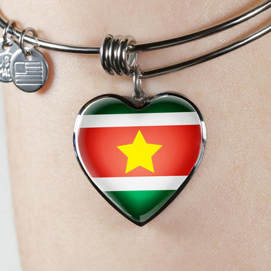 Suriname Flag Heart Pendant Bangle - lottierocks