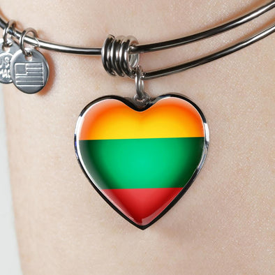 Lithuania Flag Heart Pendant Bangle - lottierocks