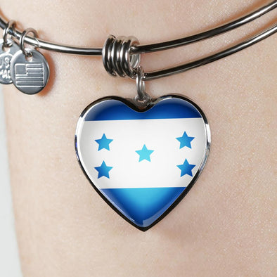 Honduras Flag Heart Pendant Bangle - lottierocks