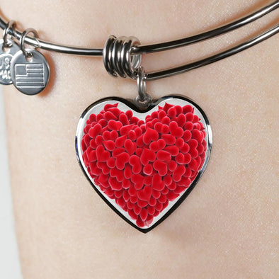 Red Hearts Love Heart Pendant Bangle