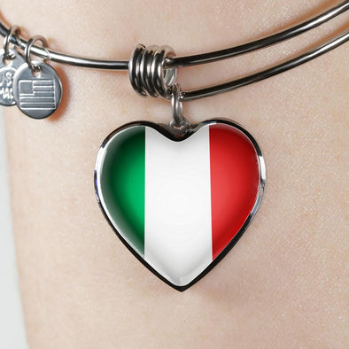 Italy Flag Heart Pendant Bangle - lottierocks