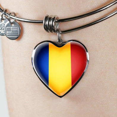 Romania Flag Heart Pendant Bangle - lottierocks