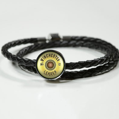 Winchester Shotgun Cartridge Circle Charm Leather Bracelet - lottierocks