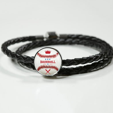 BaseBall 3D Circle Charm Leather Bracelet - lottierocks