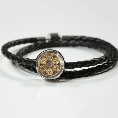 lottierocks:44 Mag Cylinder With Bullets Circle Charm Leather Bracelet