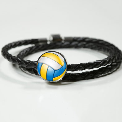 VolleyBall 3D Circle Charm Leather Bracelet - lottierocks