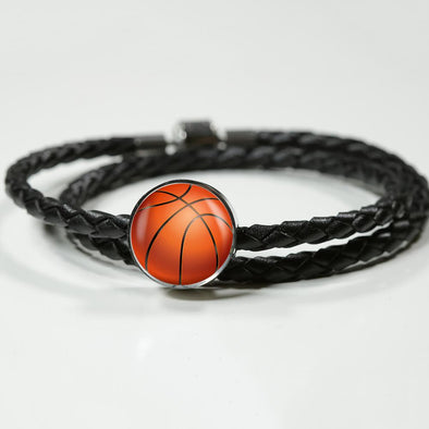 BasketBall 3D Circle Charm Leather Bracelet - lottierocks