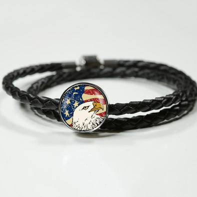 lottierocks:American Eagle USA Flag Circle Charm Leather Bracelet