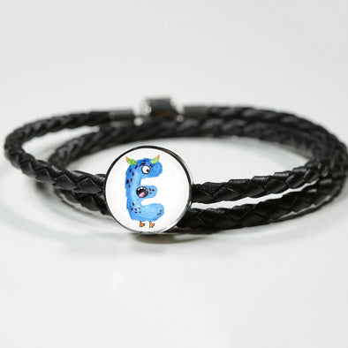 lottierocks:E - Monster HandPainted Letter Circle Charm Leather Bracelet