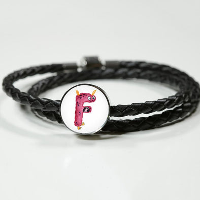 F - Monster HandPainted Letter Circle Charm Leather Bracelet - lottierocks