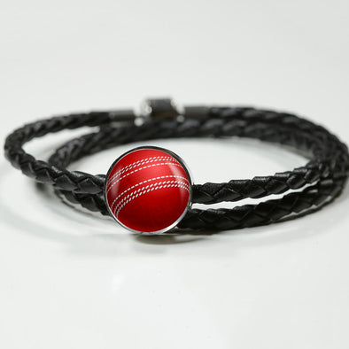 CricketBall 3D Circle Charm Leather Bracelet - lottierocks