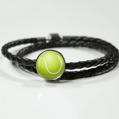 TennisBall 3D Circle Charm Leather Bracelet - lottierocks