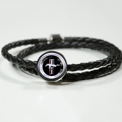 Ford Mustang Logo Circle Charm Leather Bracelet - lottierocks