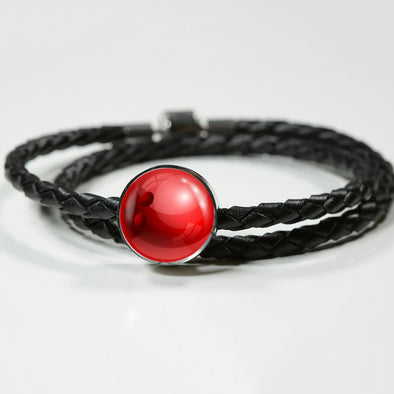 BowlingBall 3D Circle Charm Leather Bracelet - lottierocks