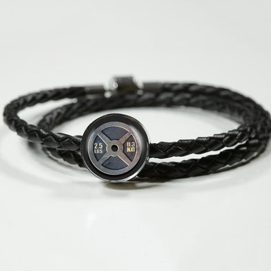 Weight Plate 2.5lbs Circle Charm Leather Bracelet - lottierocks
