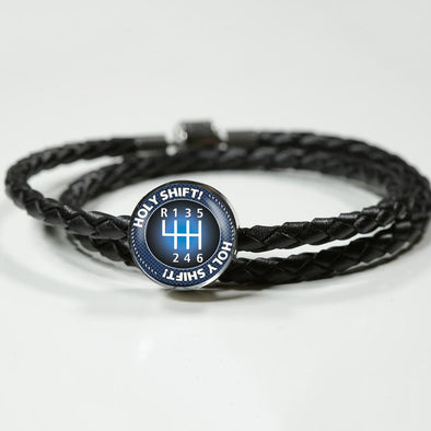 Holy Shift Circle Charm Leather Bracelet