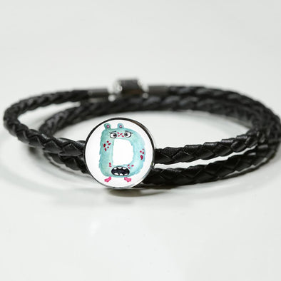lottierocks:D - Monster HandPainted Letter Circle Charm Leather Bracelet