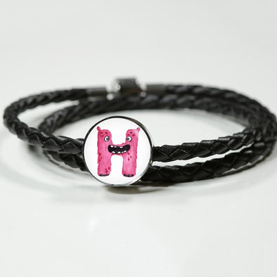 H - Monster HandPainted Letter Circle Charm Leather Bracelet - lottierocks