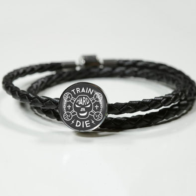 Train Hard Or Die Circle Charm Leather Bracelet - lottierocks