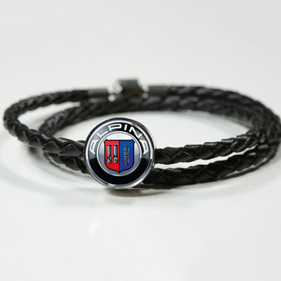 Alpina Logo Circle Charm Leather Bracelet - lottierocks