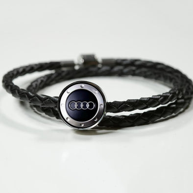 Audi Logo Circle Charm Leather Bracelet - lottierocks