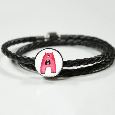 lottierocks:A - Monster HandPainted Letter Circle Charm Leather Bracelet
