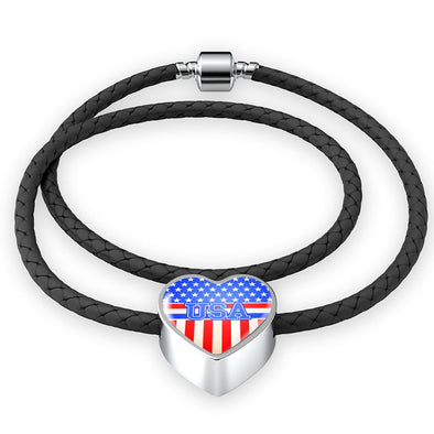Team USA Flag Heart Charm Leather Bracelet - lottierocks