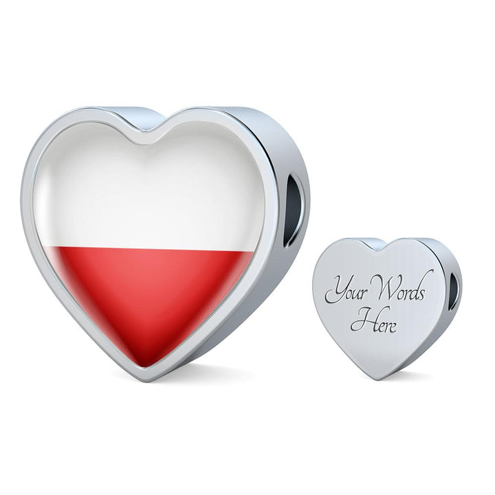 Poland Flag Heart Charm - lottierocks