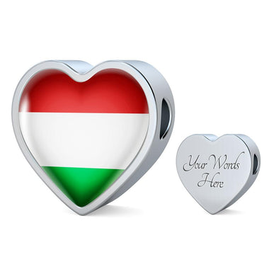 Hungary Flag Heart Charm - lottierocks
