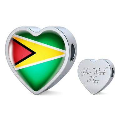 Guyana Flag Heart Charm - lottierocks