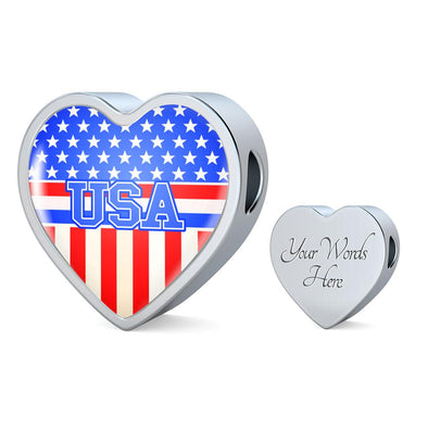 Team USA Flag Heart Charm - lottierocks