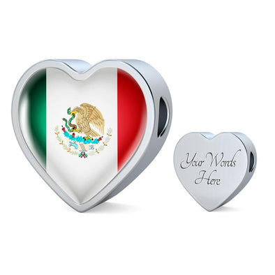 Mexico Flag Heart Charm - lottierocks