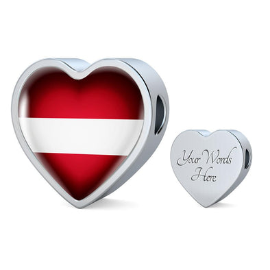 Latvia Flag Heart Charm - lottierocks