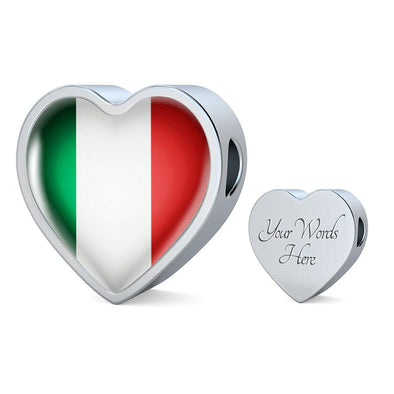 Italy Flag Heart Charm - lottierocks