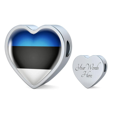 Estonia Flag Heart Charm - lottierocks