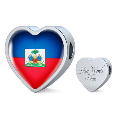 Haiti Flag Heart Charm - lottierocks
