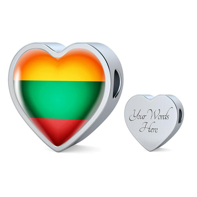 Lithuania Flag Heart Charm - lottierocks
