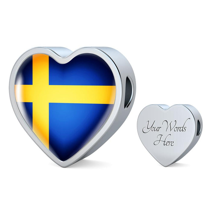 Sweden Flag Heart Charm - lottierocks