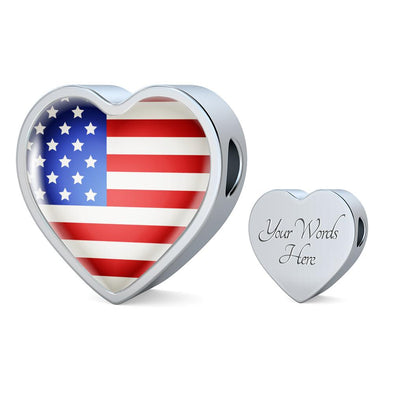 USA Flag Heart Charm - lottierocks