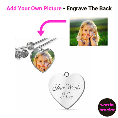 Personalized Photo Heart Pendant Bangle Jewelry - lottierocks