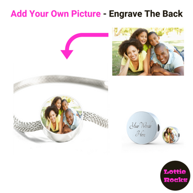 Valentines Personalized Photo Circle Charm Surgical Steel Bracelet