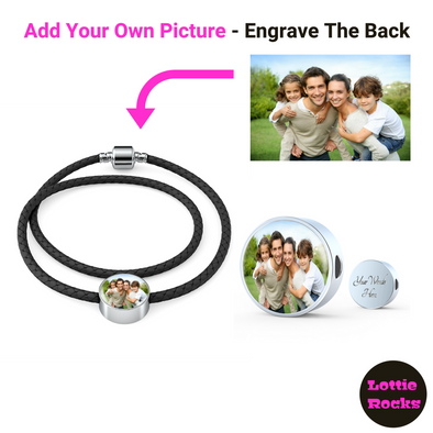 Personalized Photo Circle Charm Leather Bracelet Jewelry - lottierocks