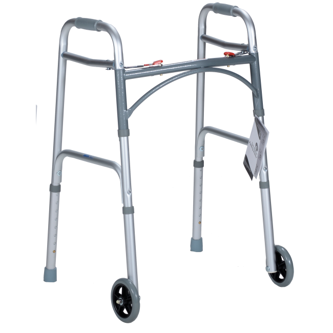 "Adult Two Button Folding Walker with 5"" Wheels, Gray - 10162-4"