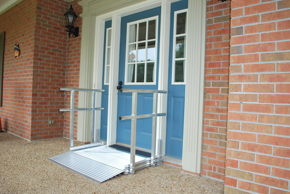 "Portable Ramp, Big Lug 5' x 42"" wide with 2 line Handrail and Support"