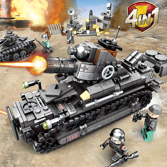 4in1 Iron Empire Custom WW2 Tanks Mini Building Blocks Set