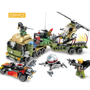 Black Gold Mission Military Oil Transporter Truck & Helicopter Building Set