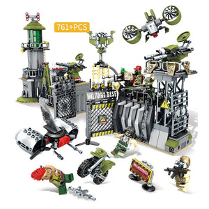 Black Gold Mission Custom Modern Military Defensive Wall of The Barracks Building Blocks Set