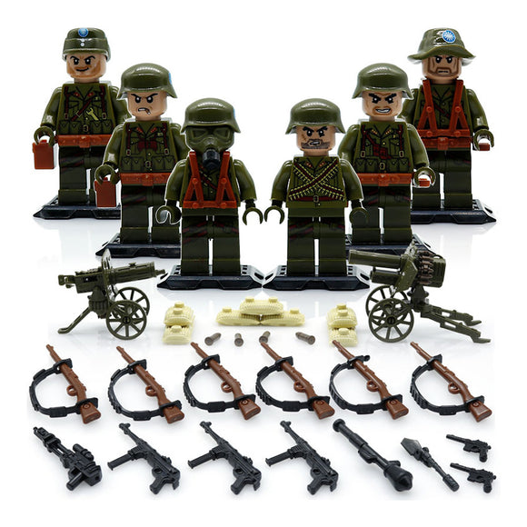 Custom WW2 Military Building Blocks Figures Set Asian Army Green