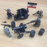 WW2 German Military Building Blocks Set w/ Artillery & Motor Tricycle (2 Figures)